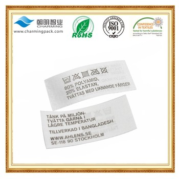 High Quality Washing Instructions Printing Fabric Label Clothing