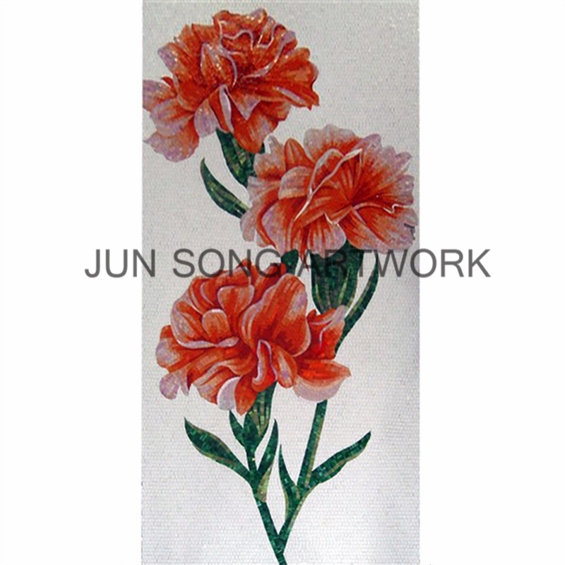 MFL-ST05 Handmade Kitchen Wall Hanging Murals Artistic Mosaic Glass Painting Flowers Mosaic Glass Tile