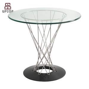 (SP-GT392) Design custom round glass top wire base table