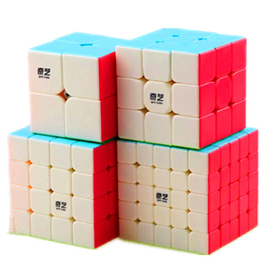 CuberSpeed Speedcubing Bundle Qiyi Qidi S 2X2 & Qiyi Warrior W 3x3 & Qiyi Qiyuan S 4X4 & qizheng s 5X5 Stickerless Bright Magic cube Stickerless speed cube set