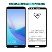Hot Sale 0.3 mm 9H Hardness 2.5D 3D 4D 5D Full Glue Premium Tempered Glass Screen Protector for huawei Y7 prime 2018