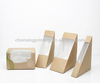 Wholesale Hot Triangle Kraft Paper Sandwich Wedge with Window Custom Printed