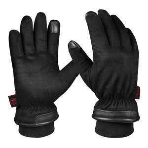 New fashion deer leather split warm winter driving gloves men