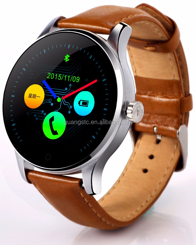 High Level K88H Round Screen Smartwatch Heart Rate Monitor IP54 Waterproof Compatible with IOS and Android Leather Strap Series