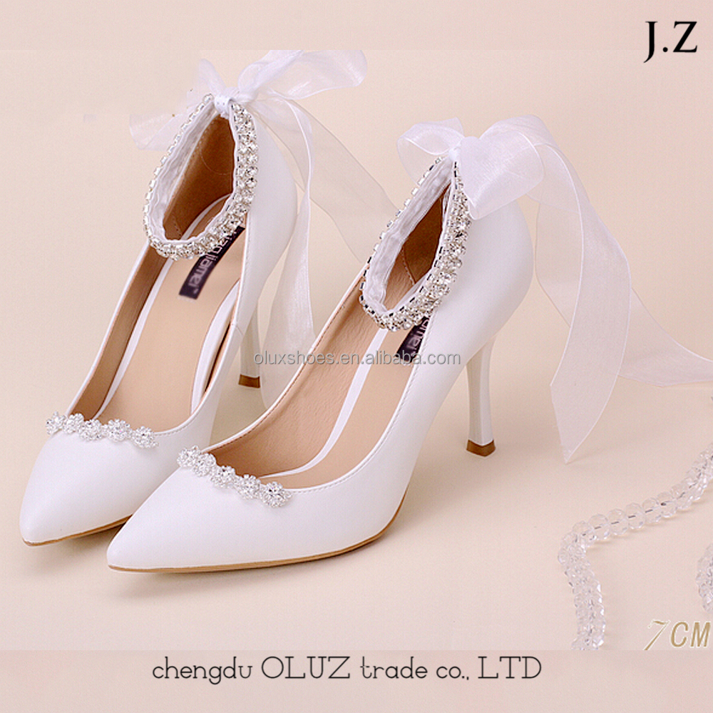 OW19 Wholesales White Lace High Heel Ladies Wedding Shoes