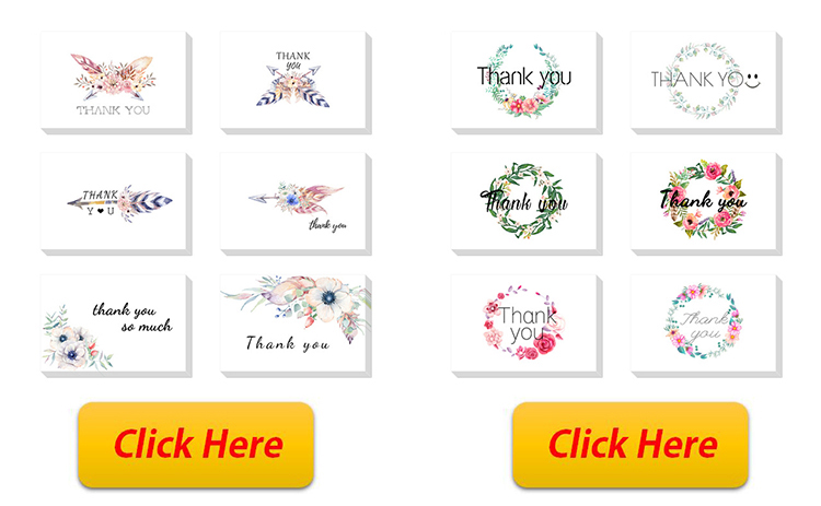 Amazon whosale 100 Thank You Cards with Self-Seal Envelopes for Weddings, Baby Showers, Clients, Teachers, Birthdays