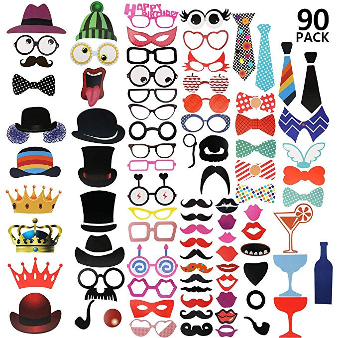 90pcs Photo Booth Props Kit For <strong>Wedding</strong>, Birthday, Party - DIY Photo Booth Fun Accessories