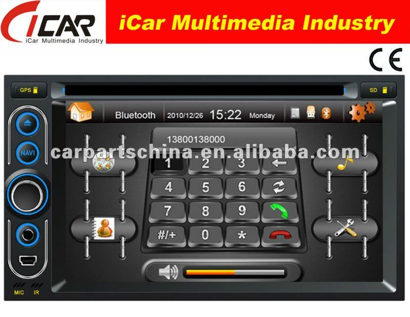 (iCar-6218)HOT Double Din 6.2'' touch screen,GPS,Bluetooth,TV,IPod car dvd player retractable screen