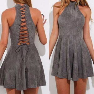 Women fashion elegant sleeveless sexy back bandage strappy dresses
