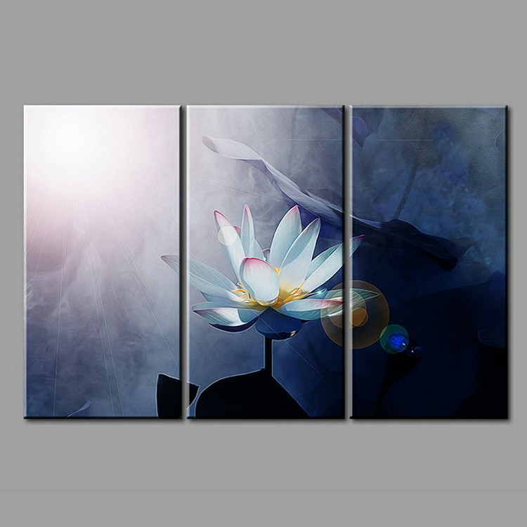 Modern HD Wall Art Lotus <strong>Picture</strong> 3 Panel Canvas Printing