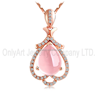 Custom multi style pink jade inlaid silver pendant for baby and lady