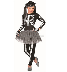 Kids Halloween Carnival Party New Style Fancy Skeleton Girl Costume