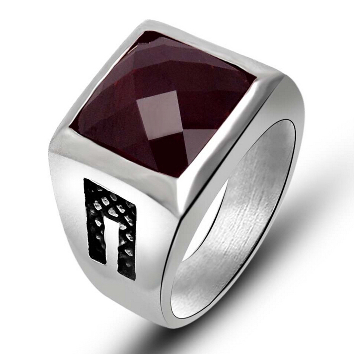 Fashion New Stainless Steel Mens Rings Red Black Agate