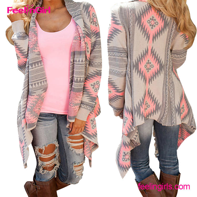 New Arrival Europe Fashion Pattern Autumn Knitted Irregular Coat 2016 Women Cardigan