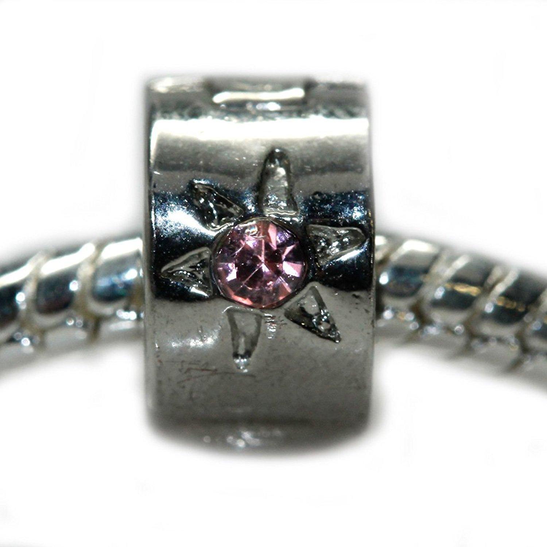 Clip Lock Stopper Bead Flower W/pink Stones For Snake Chain Charm Bracelet