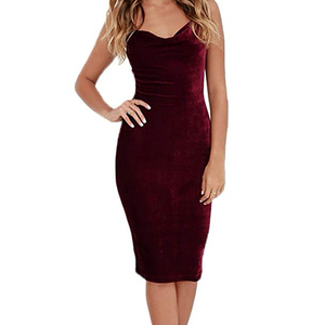 Sexy Summer Club Spaghetti Strap V-neck Sheath Velvet Dress For Women