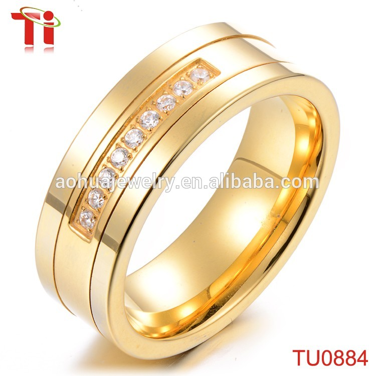 Gold Ring Design for Men and Women, Tungsten Carbide One Stone Rings ...