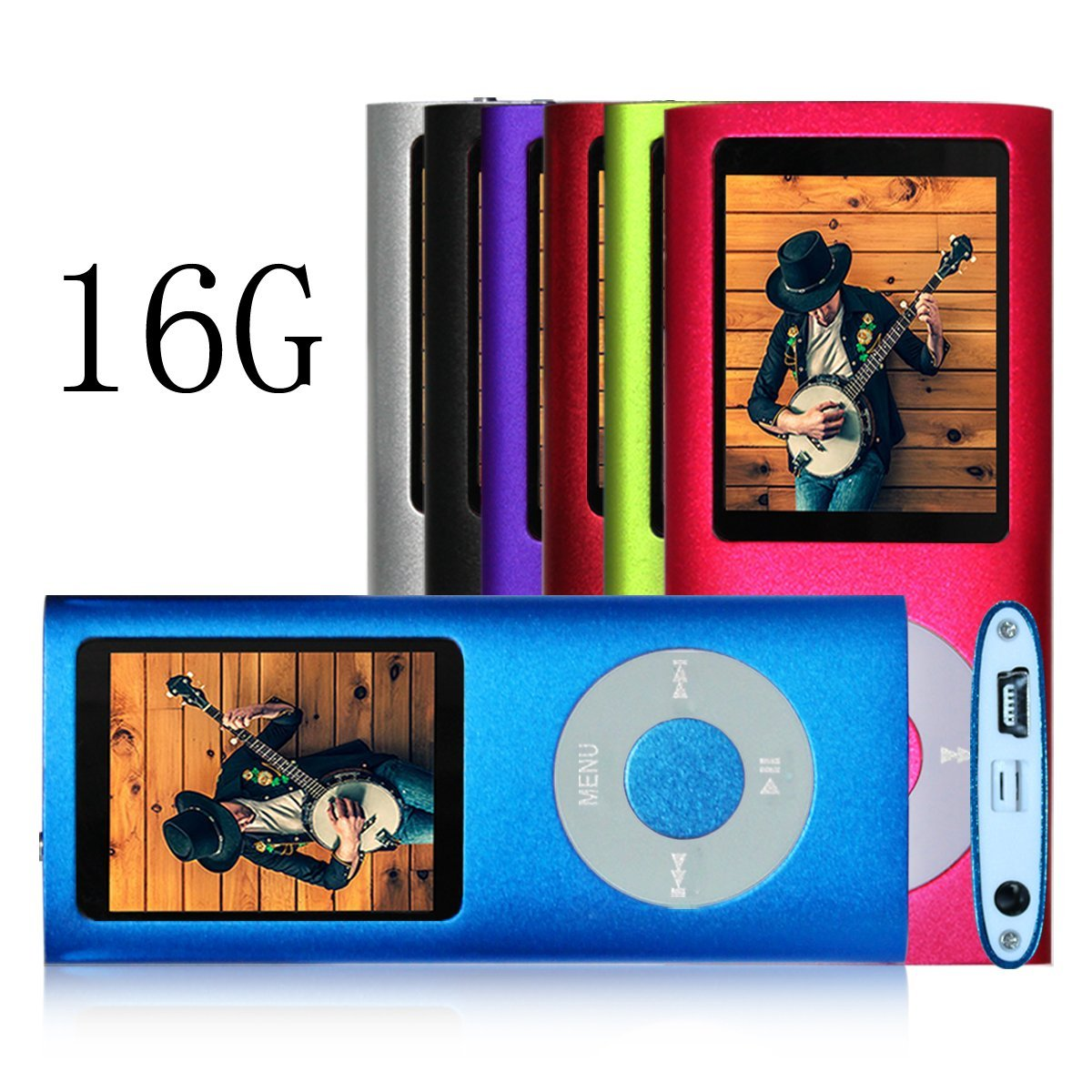 G.G.Martinsen 16 GB MINI-USB-PORT Portable MP3/MP4 Player with Multi-lingual OS , Multi-Functional MP3 Player / MP4 Player with Mini USB Port, Voice Recorder , Media Player , E-book reader in Blue