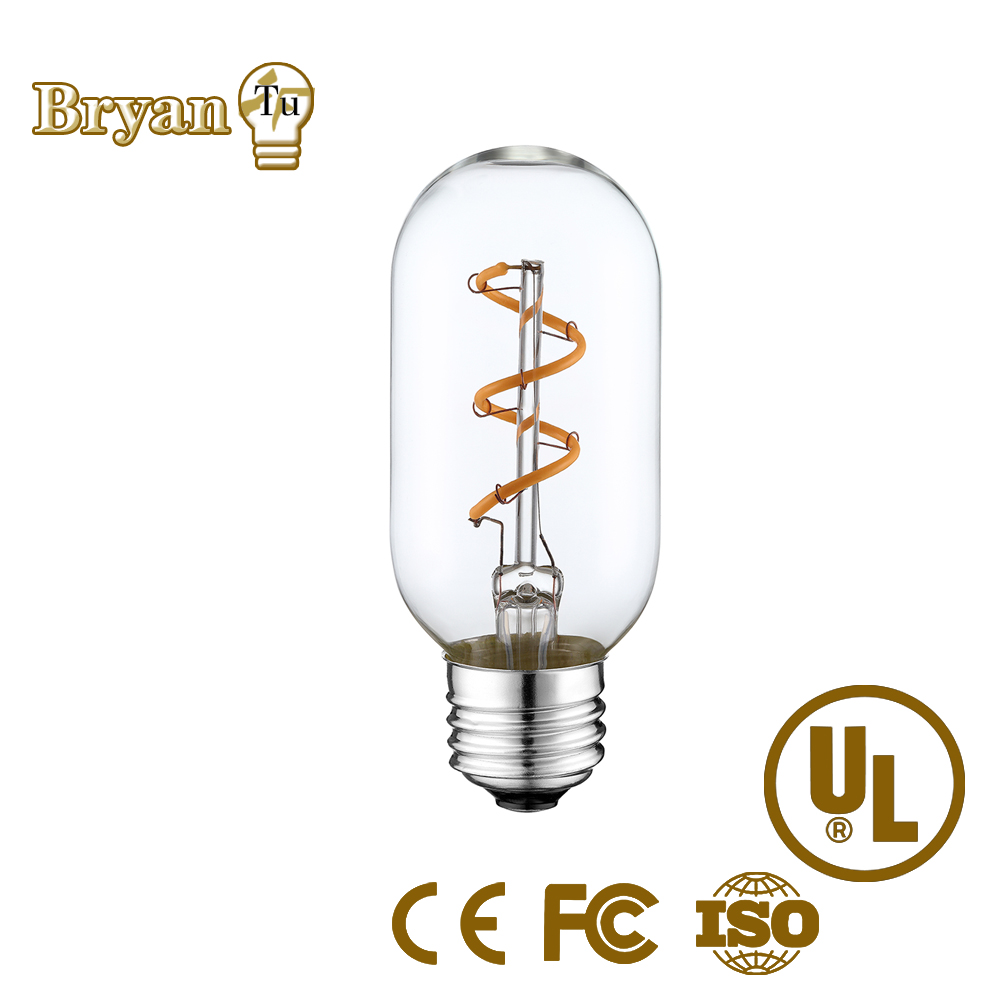 Dimmable 2w E26/E27--LED Edison Soft flexible spiral filament bulb T45 glass tubular bulb with exquisite workmanship