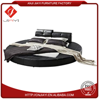 latest bed designs king size dimensions, black PU round bed on sale
