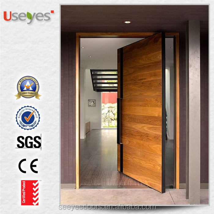 popular wood entrance front gate pivot door design