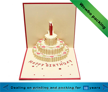 Decorative Cardboard Birthday Greeting Card With Cake