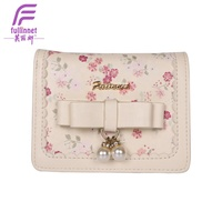 Factory Custom Printing Flower PU Leather Woman Wallet PU Bow Floral Printed Ladie's Purse