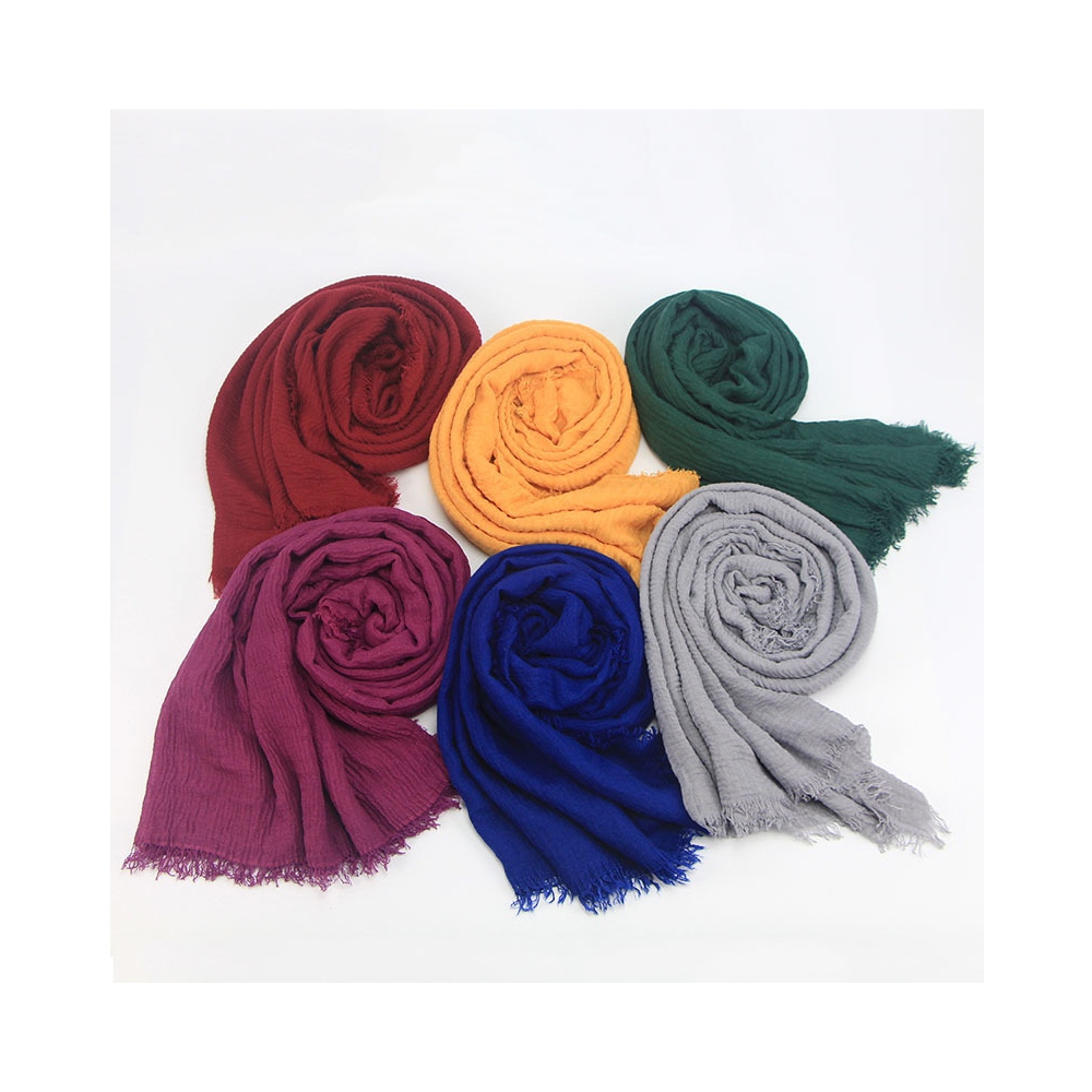 Wholesale pleated scarf muslim women hijab cotton crinkle hijab with lace