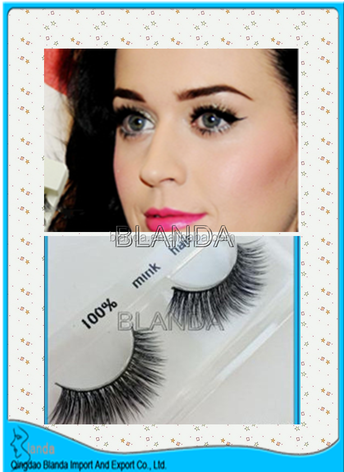fan-shaped Strip Eye Lash 100% siberia mink eyelashes with glue