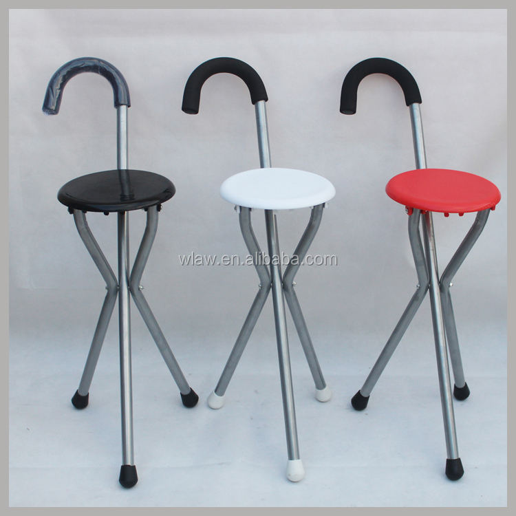 Three legs folding stool walking stick chair with seat