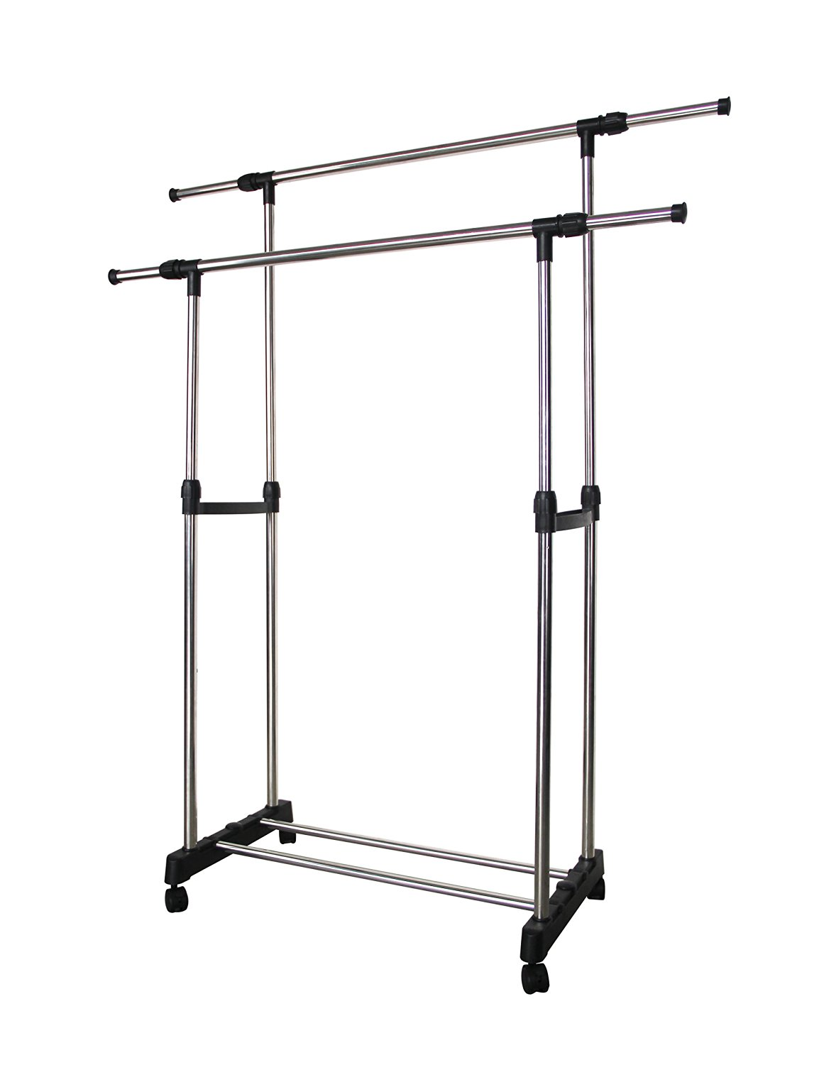Get quotations · double pole collapsible clothing rack adjustable double rod garment rack movable garment hanging rack