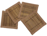 Craft brown bamboo table runner and place mat with different colors