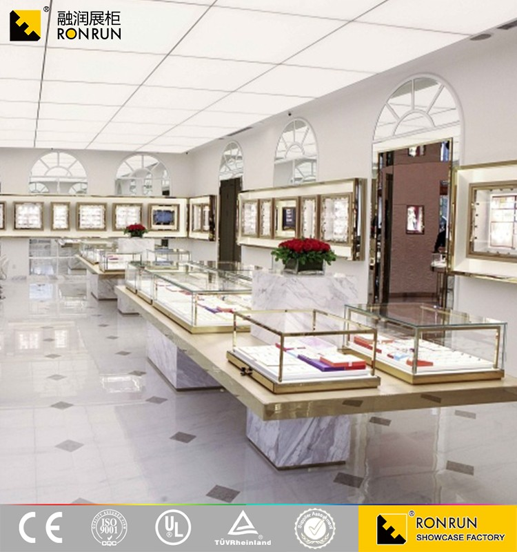Top selling High quality stainless steel gold mirror finished marble jewelry showcases