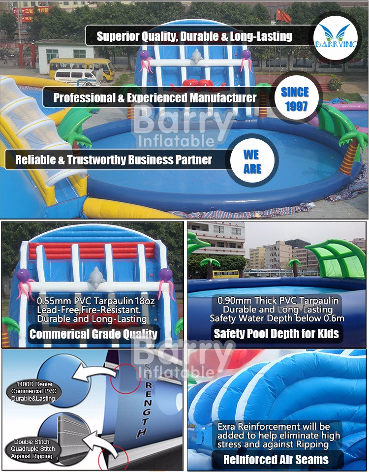 china cheap commercial grade dragon 3 lane inflatable water park , inflatable water games for kids