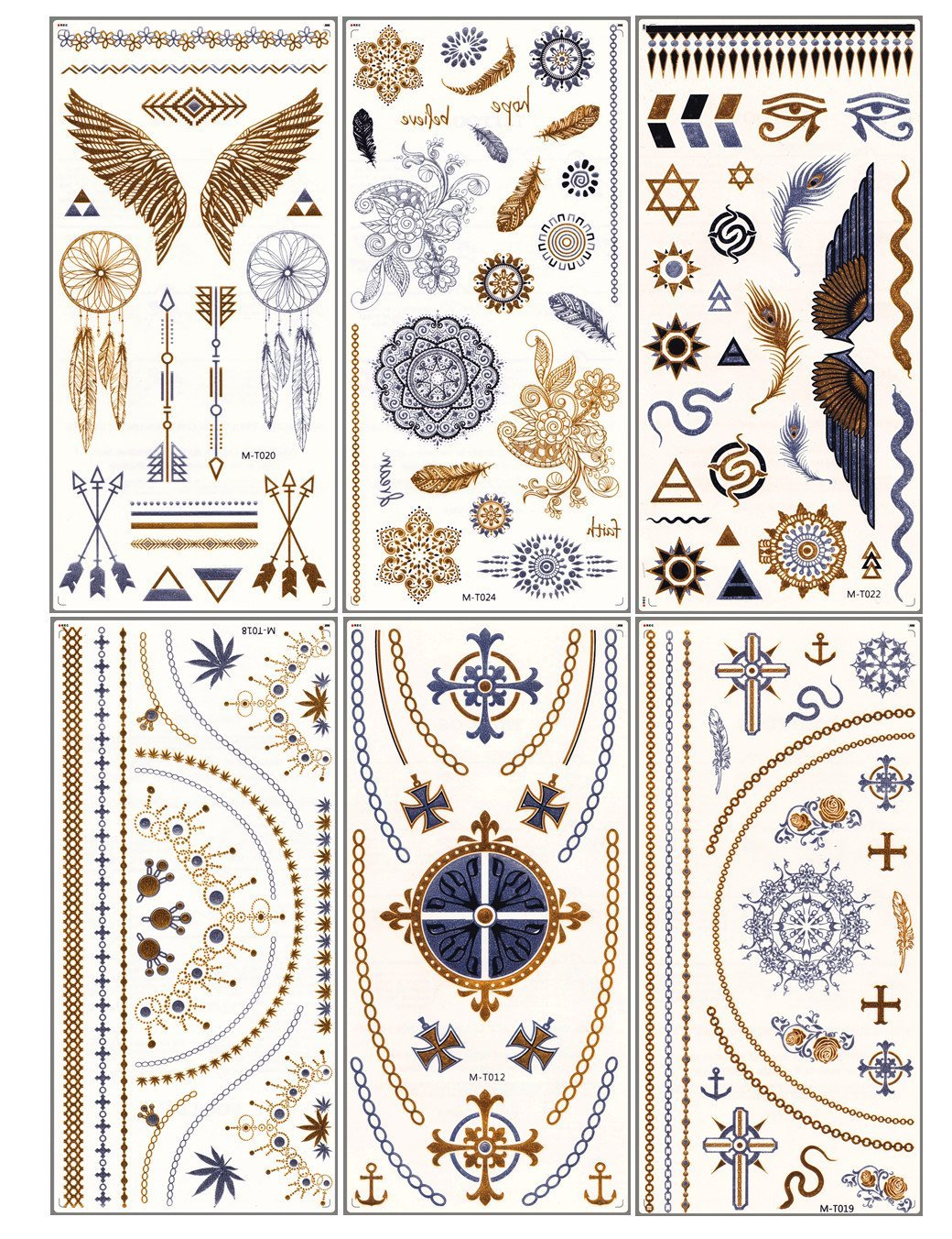 2dd55dd1a Get Quotations · Dalin 6 Sheets Gold Silver and Black Body Jewelry Temporary  Metallic Tattoos, Angel Wings,