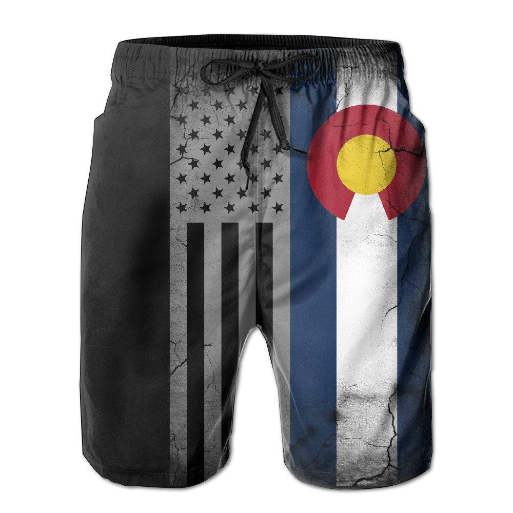 d7342463f9 Get Quotations · ZQ-SOUTH Men's American Colorado State Flag Quick Dry  Summer Beach Surfing Board Shorts Swim