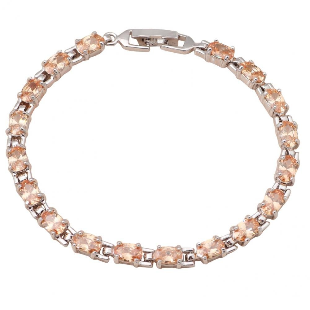 Christmas Jewelry Gifts Jewelry Morganite Jewelry Champagne Crystal Bracelets Silver Filled Tbs732A