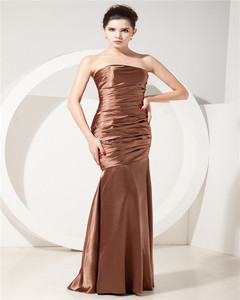 Unique Design Elegant Mermaid Strapless Sleeveless Brown Ruched Lace-up Mother Of The Bride Dress