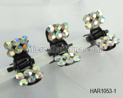 9 Colors Oblong Rhinestone Hair Clamps