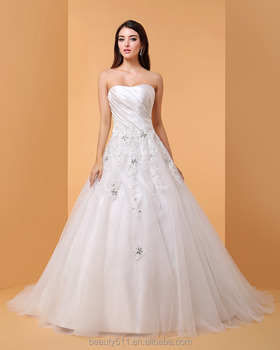 Ball Gown Wedding Dress Sparkle Shine Floor Length Sweetheart Lace Bridal P064