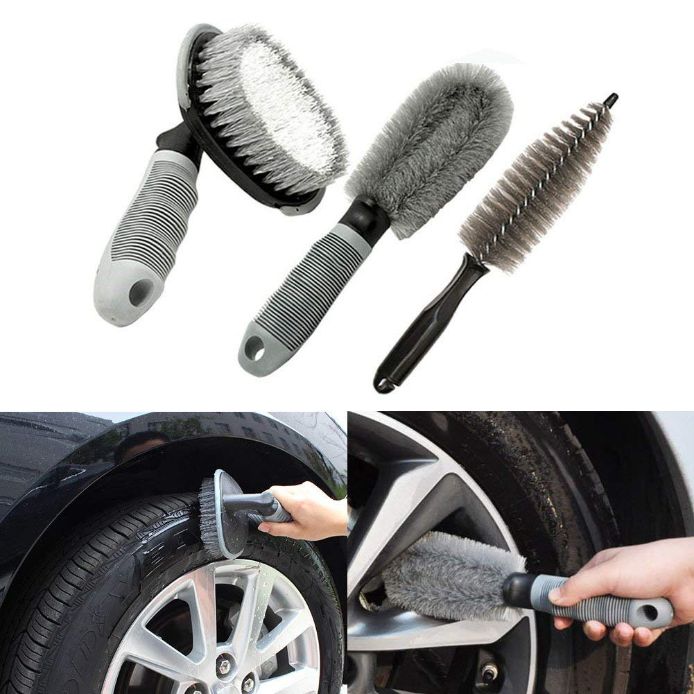 Cozzy Car Wheel Cleaning Brush Multifunction Wool Cleaning Wash Non-scratch Brush Stick for Car Motorcycle Bike Pack of 2
