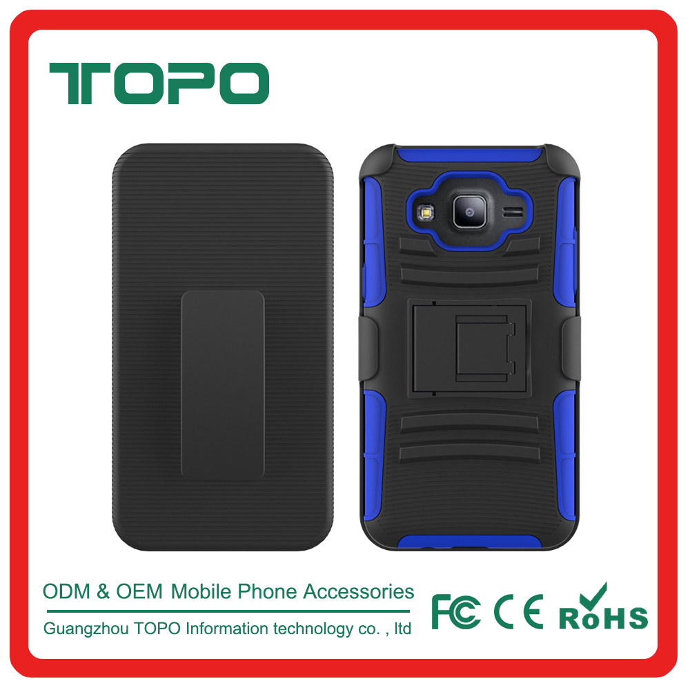 [TOPO]Newest low price 3 in 1 silicone + PC hybrid kickstand armor outdoor cell phone case for samsung galaxy J7