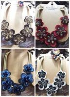 2017 Handmade Fabric Flower Crystal Choker Collar Statement Bib Necklace Fashion
