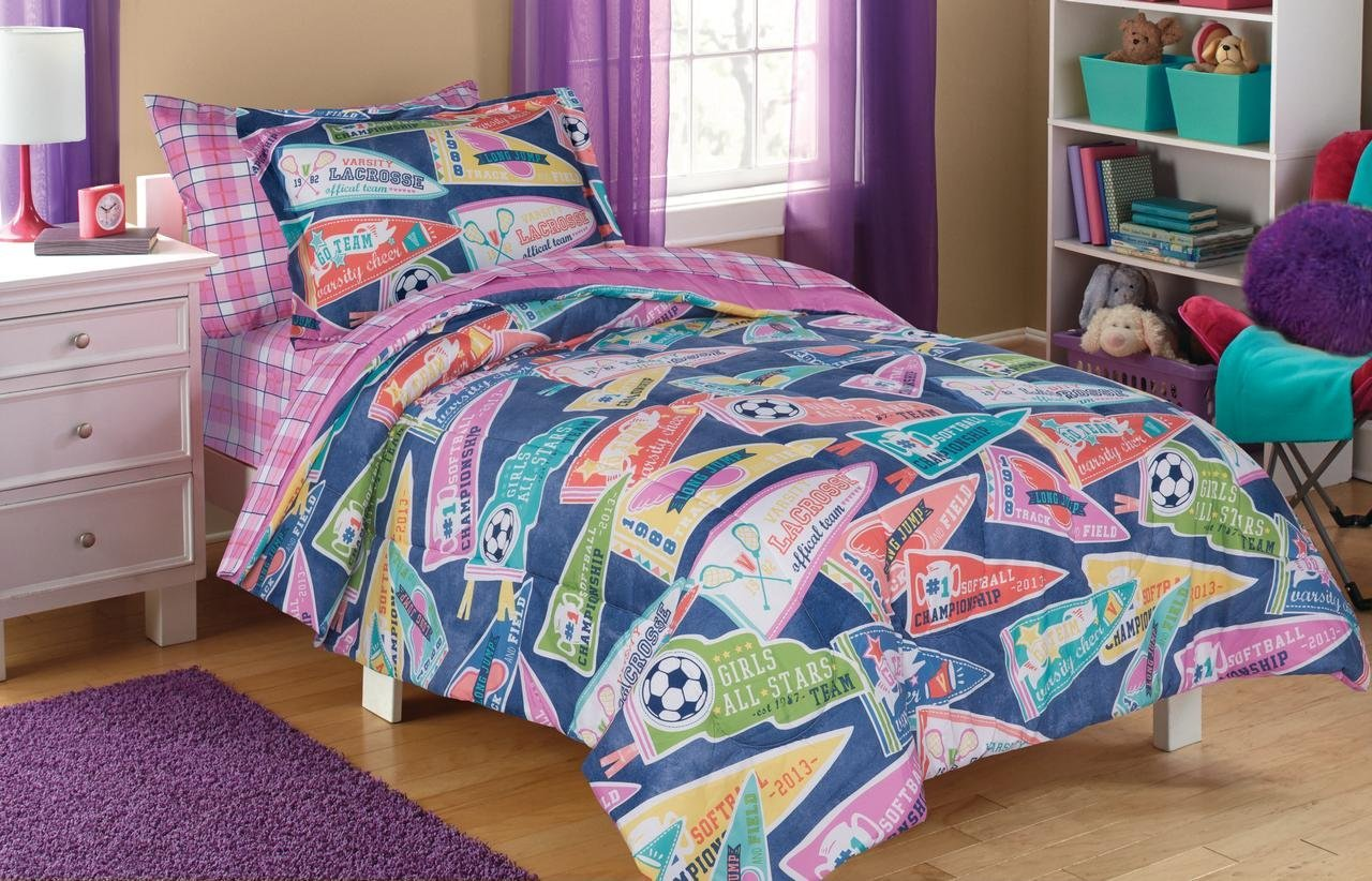 5 Piece Kids Girls Purple Pink Sports Themed Comforter Twin Size Set, All Stars Bedding Trophies Soccer Athletic Lacrosse Softball Track Cheerleading Flags Teal Blue Coral Green, Microfiber Polyester