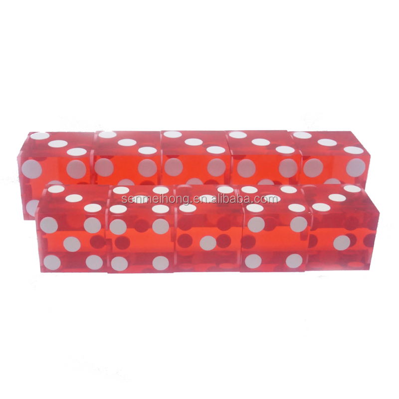 Imported acrylic material 16mm red color edge shape casino dice for promotion