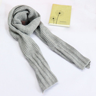 Hot sale winter warm Grey solid plain fashion long knit scarf