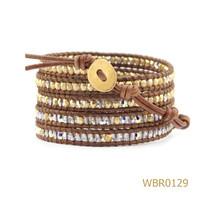 Semi-Precious Bead Handmade Wrap Bracelet Leather Bracelet Natural Stone Bracelet Women