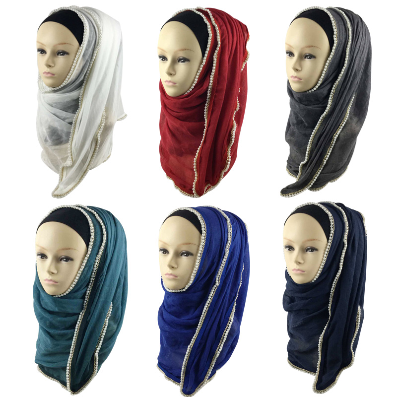 Fashion new solid color hijab scarves dubai women cotton pearl and chain scarf women hijab