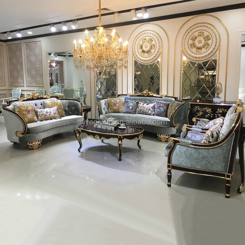French Provincial Living Room Furniture Sofa Set With Black And Gold Color  (1+2+3) - Buy French Provincial Living Room Furniture Product on ...