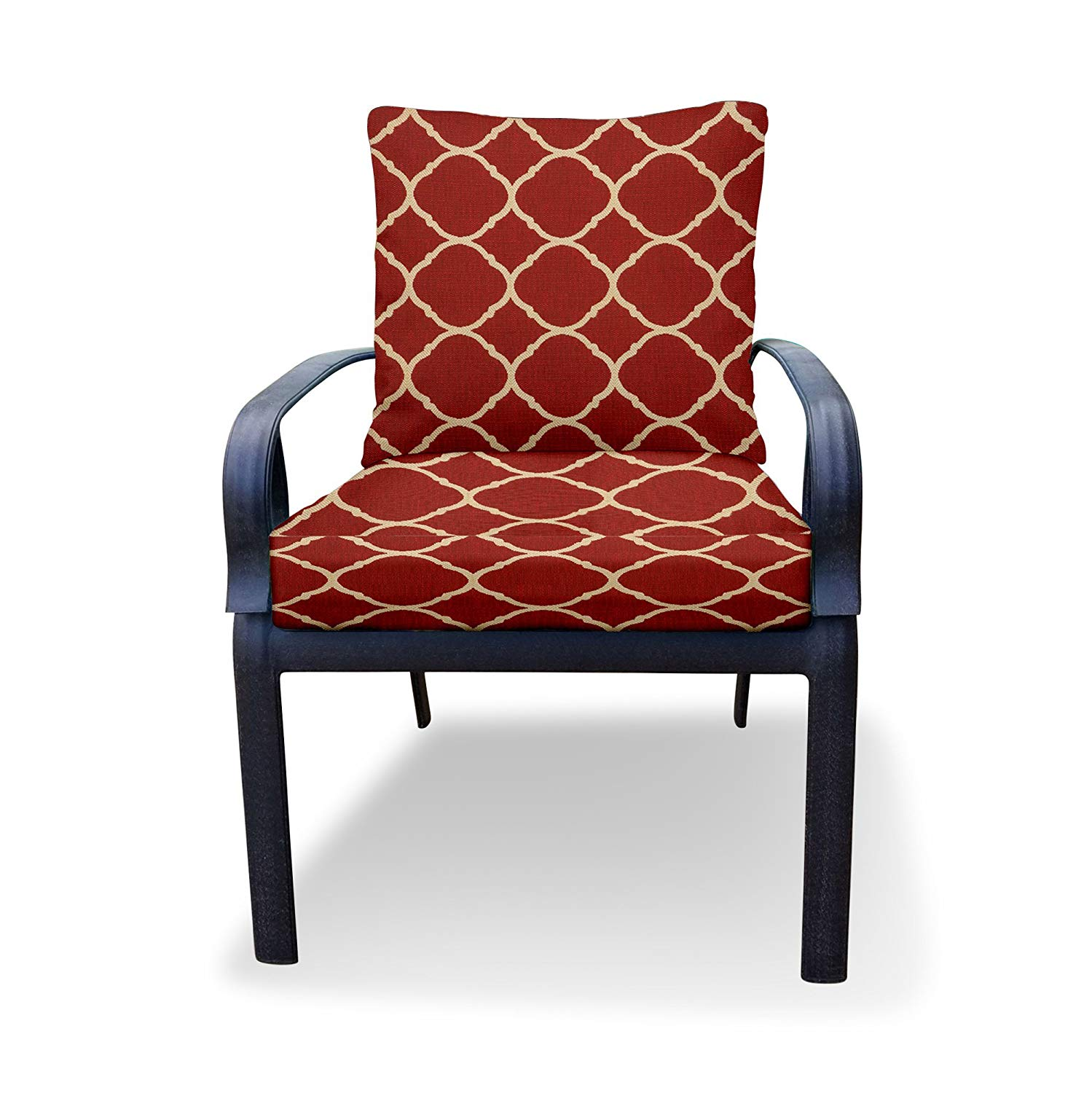Thomas Collection Outdoor Cushion Set, Red Ivory Outdoor Cushions for Chair, Chaise or Seat Only, Sunbrella Outdoor Cushion, Handmade in USA, 13196 - Furniture Not Included